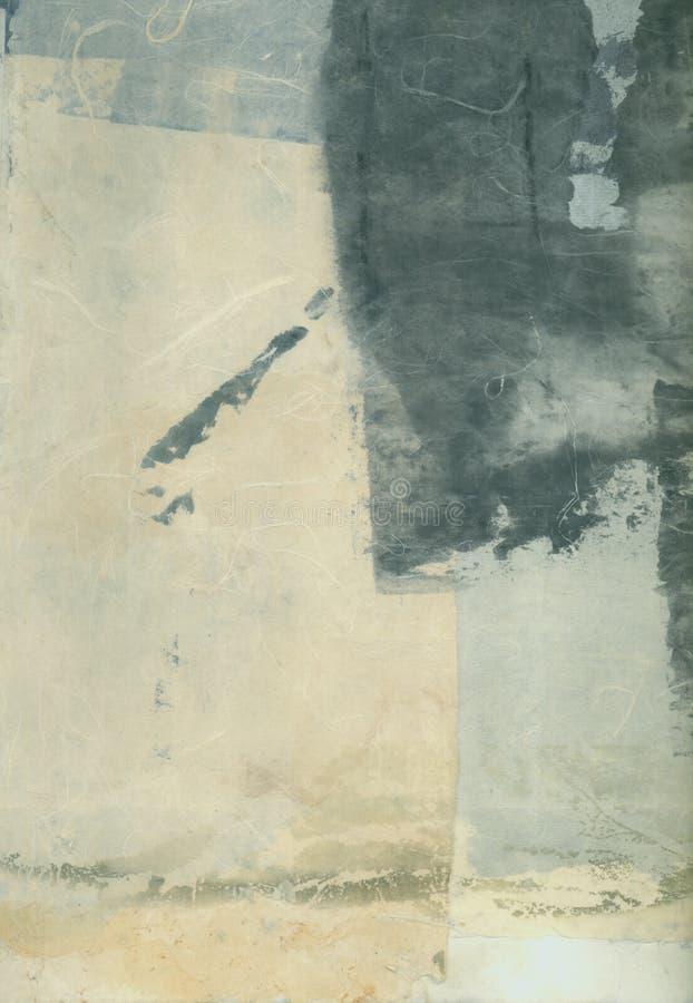 Pittura di carta strutturale del collage di arti dell'estratto con Grey Tones fotografia stock libera da diritti