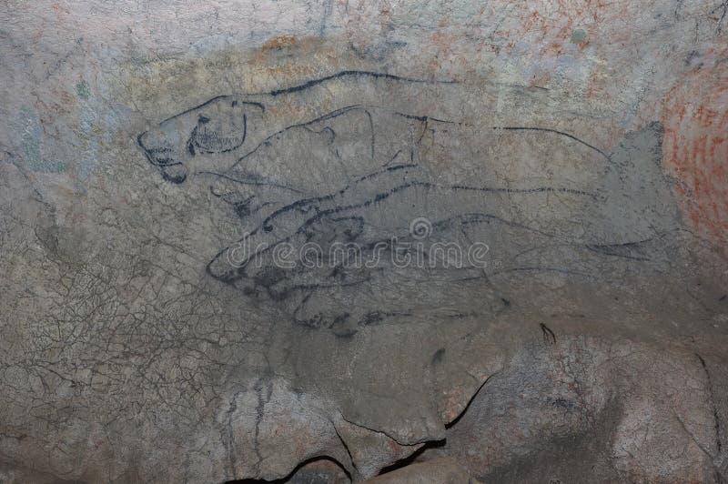 Pittura di caverna fotografia stock