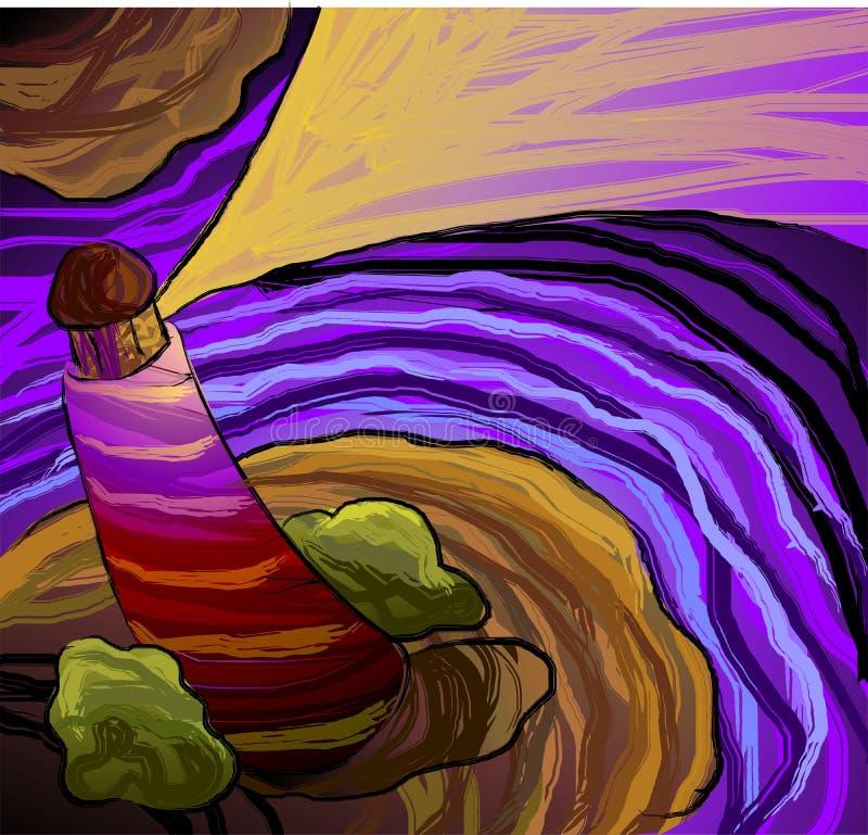 Pittura di Digitahi della vista superiore dell'indicatore luminoso hous illustrazione vettoriale