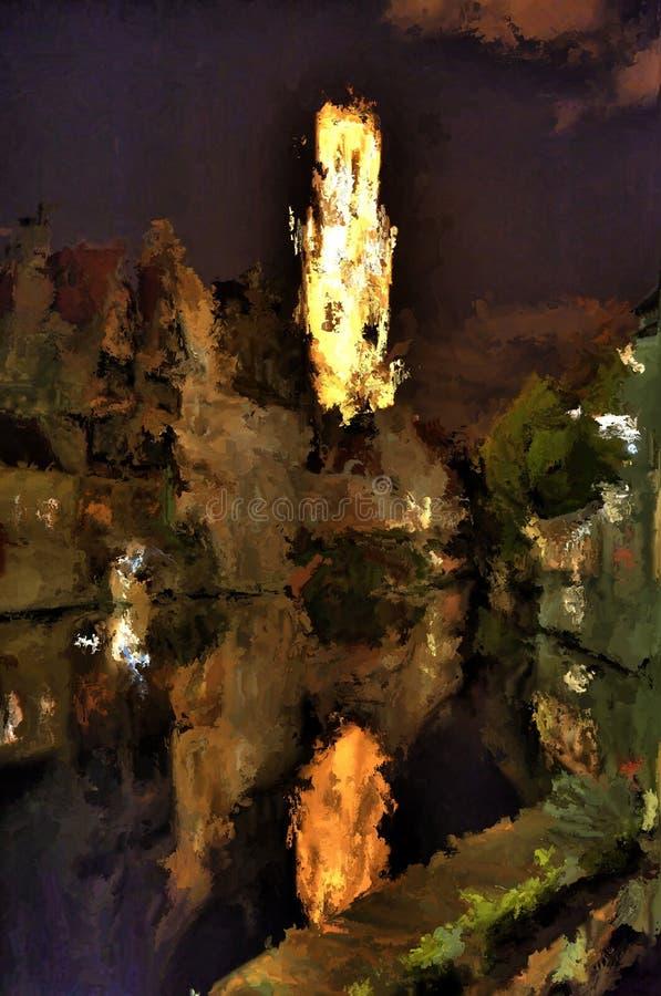 Pittura di Digital di Bruges di notte royalty illustrazione gratis
