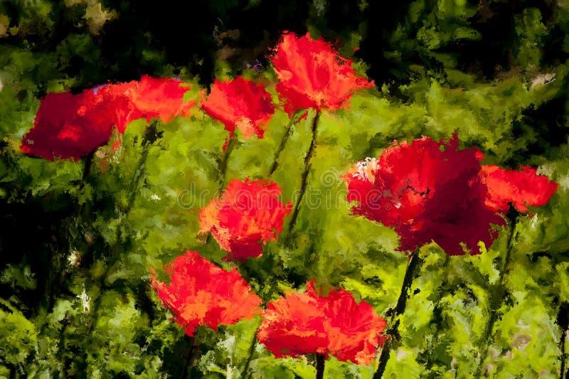Pittura di Digital dei papaveri rossi royalty illustrazione gratis