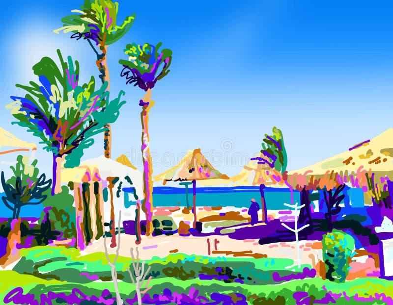 Pittura di Digital del paesaggio della spiaggia di estate nell'Egitto illustrazione vettoriale