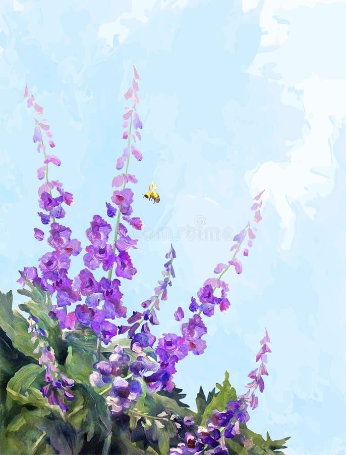 Pittura di Digital dell'olio dei fiori royalty illustrazione gratis