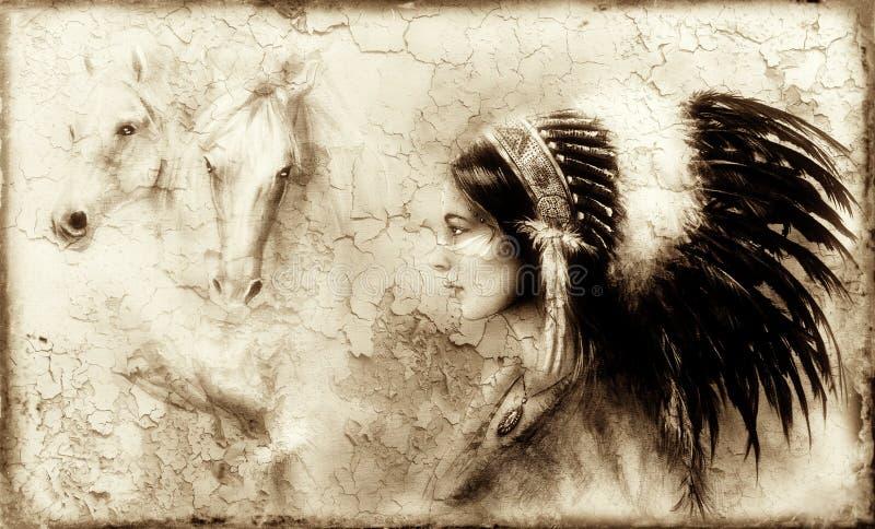 Pittura di giovane donna indiana con un'immagine di due alcoolici del cavallo bianco che si librano sopra la sua palma, struttura illustrazione di stock
