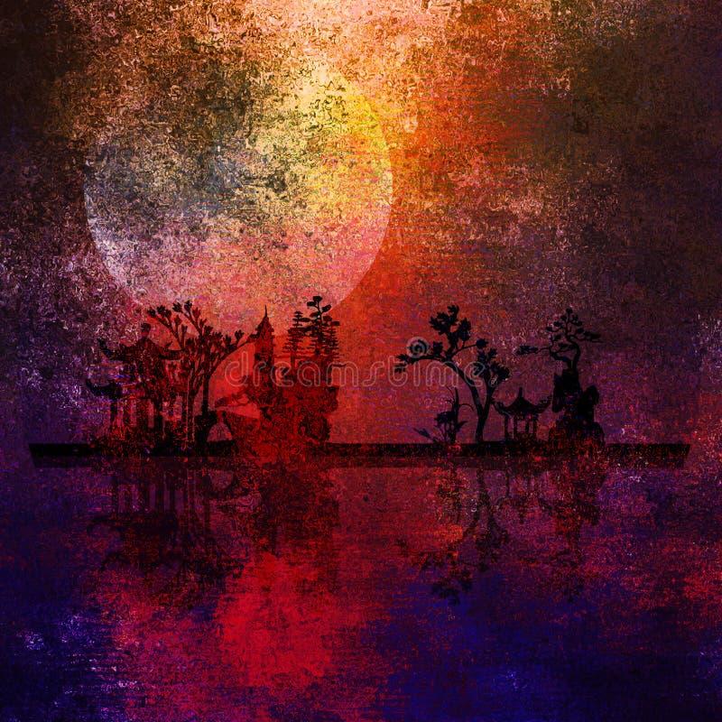 Pittura di paesaggio dell'Asia royalty illustrazione gratis