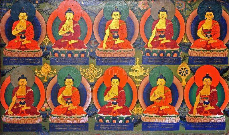 Pittura di parete buddista nel monastero immagine stock