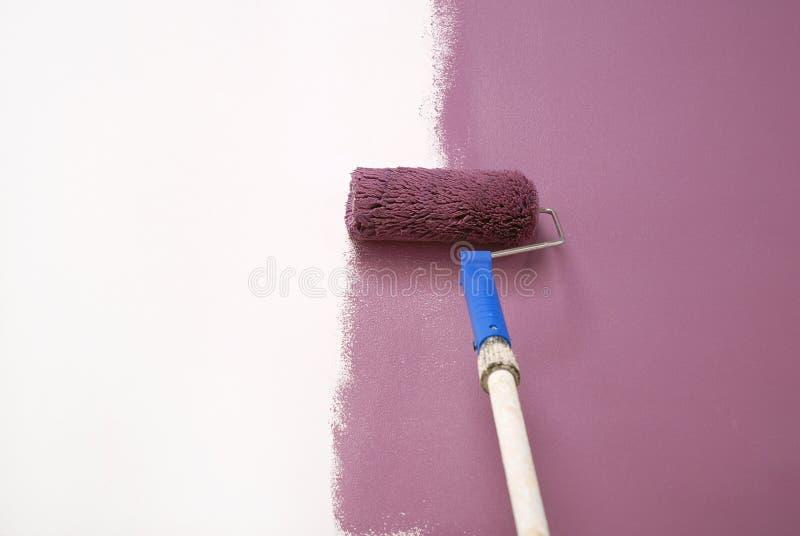 Pittura di parete malva fotografia stock