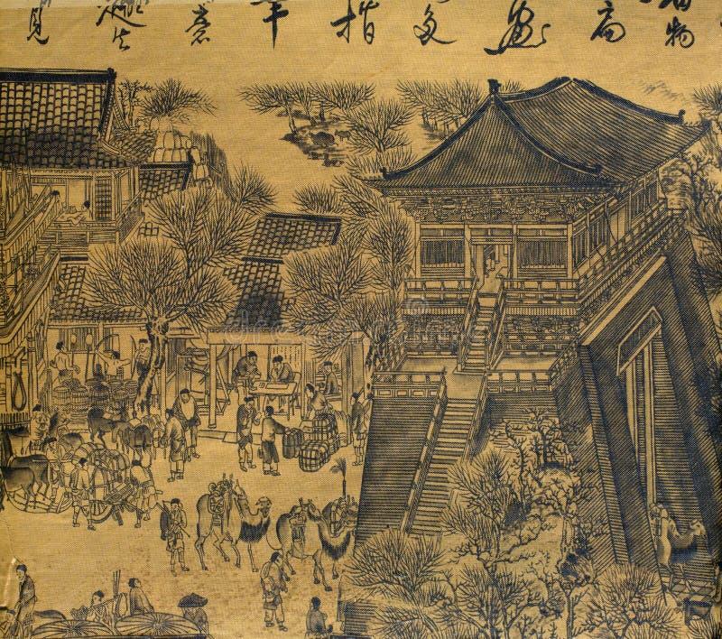 Pittura di seta cinese antica royalty illustrazione gratis