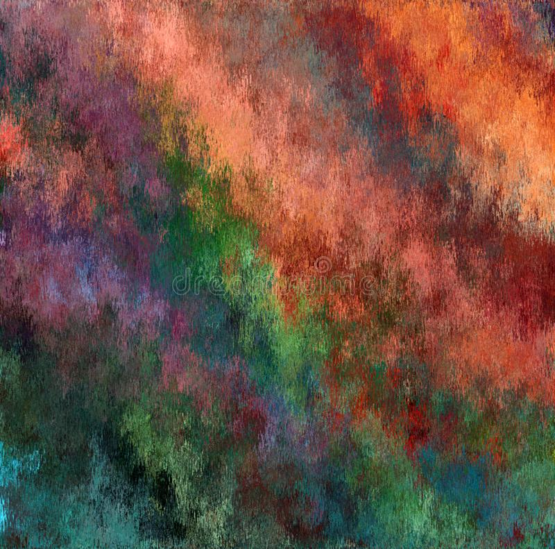 Pittura di spruzzo sporca multicolore dell'estratto della pittura di Digital nel fondo scuro di colori pastelli illustrazione vettoriale