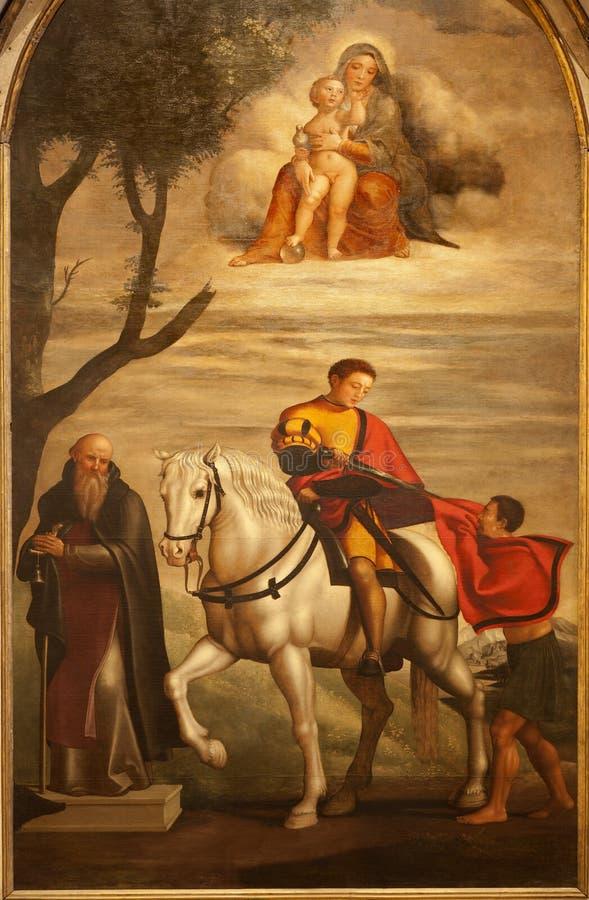 Pittura di St George - di Verona dall'altare laterale nella chiesa di Anastasia del san fotografia stock