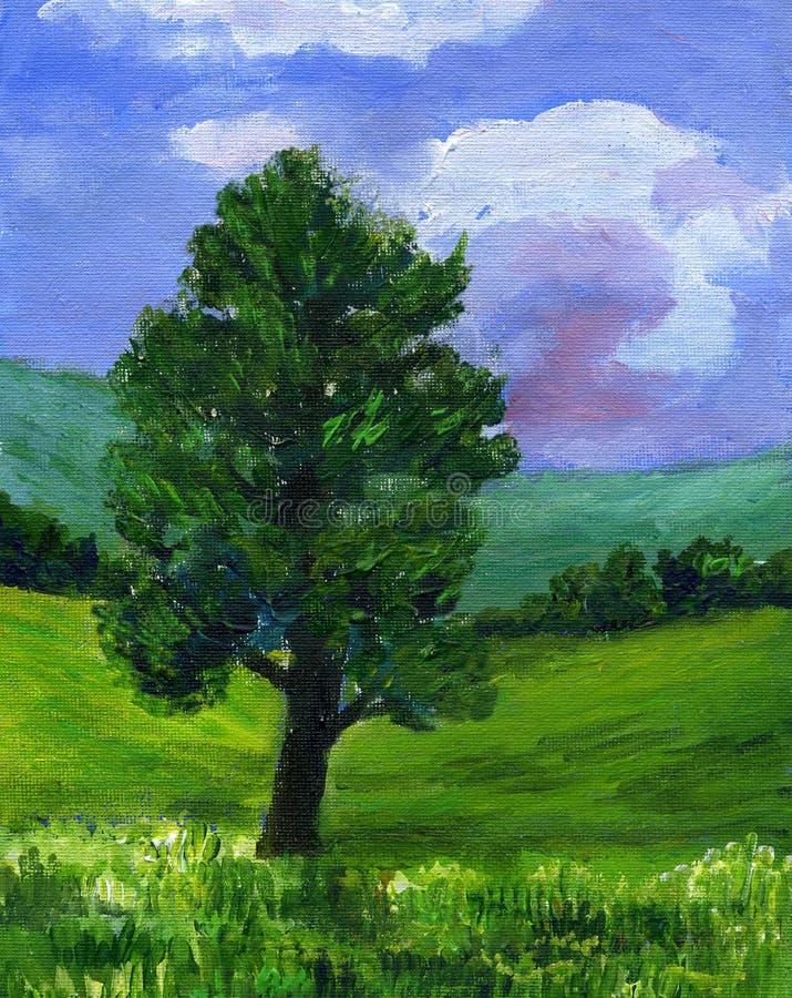 Pittura di un albero del sicomoro in un paesaggio di estate illustrazione vettoriale