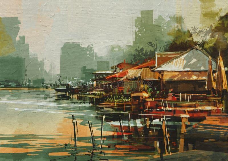 Pittura di vista sul mare che mostra vecchio paesino di pescatori illustrazione di stock