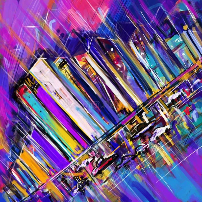 Pittura digitale astratta della città illustrazione vettoriale