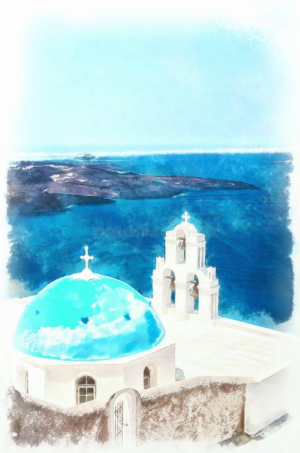 Download Pittura Digitale Dell'acquerello Della Chiesa Di Firostefani Illustrazione di Stock - Illustrazione di digitale, romantico: 56883184