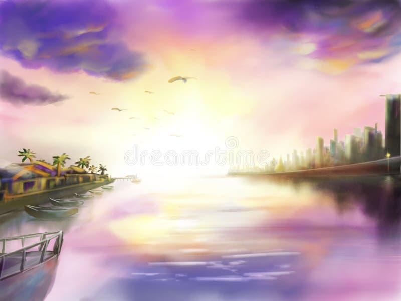 Pittura digitale della città e del porto di vista sul mare royalty illustrazione gratis