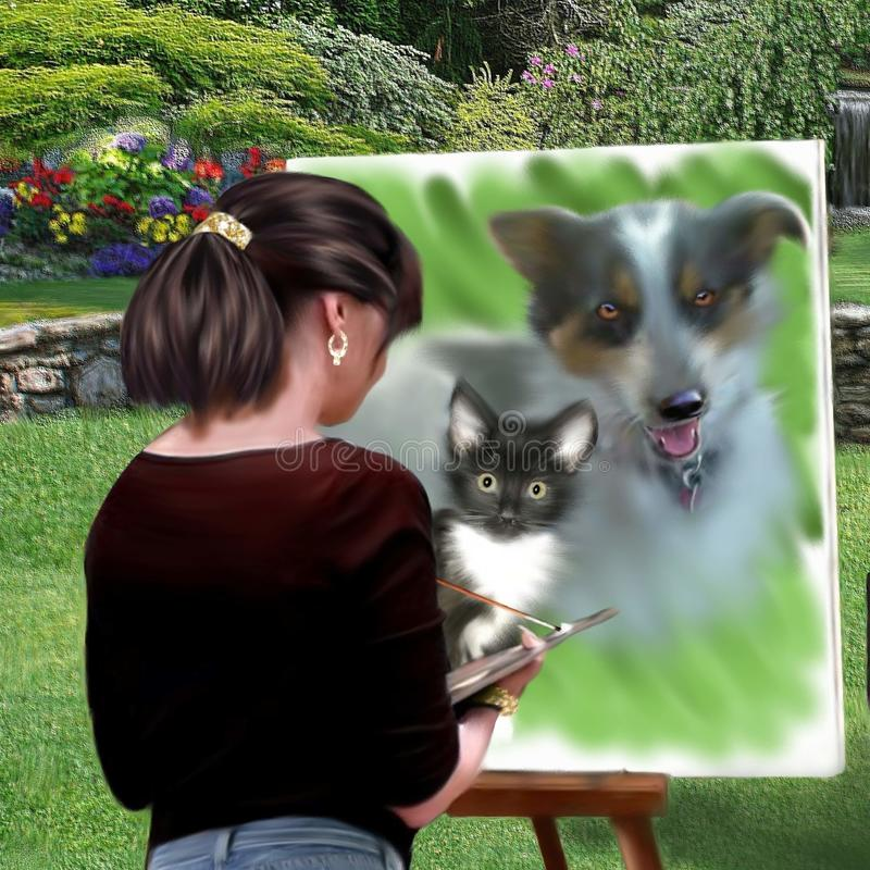 Pittura digitale originale di un pittore che dipinge una pittura fotografie stock