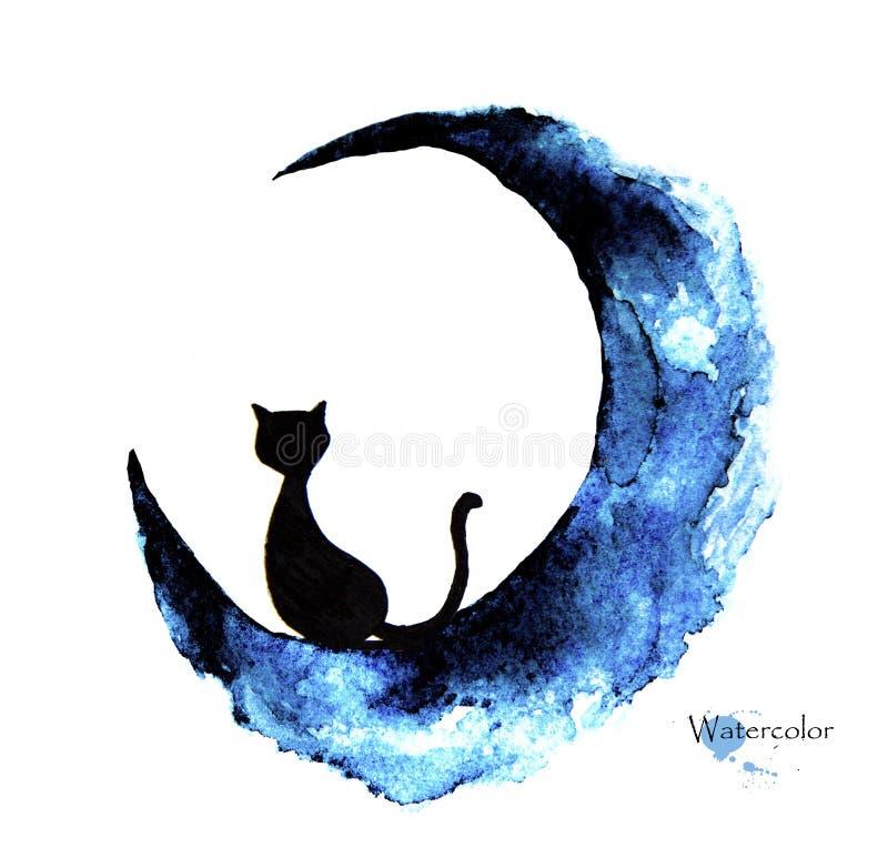Pittura disegnata a mano dell'acquerello del gatto nero che si siede sulla luna immagini stock libere da diritti