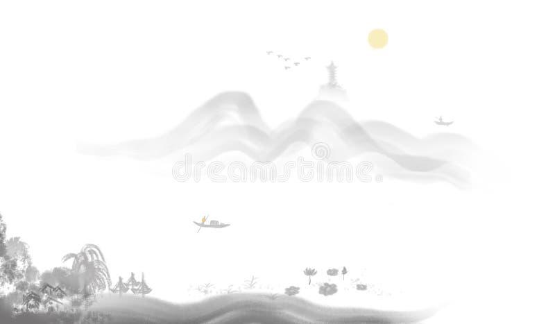 Pittura distante dell'inchiostro di alba della montagna illustrazione vettoriale