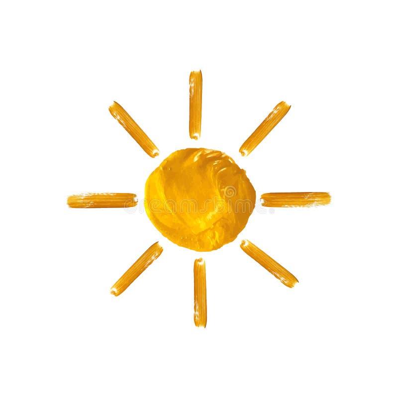 Pittura dorata di Sun di vettore, isolata sull'illustrazione bianca del fondo illustrazione vettoriale