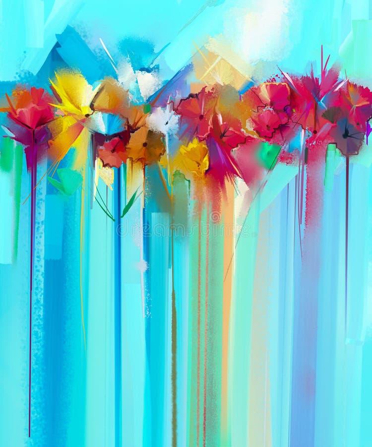 Pittura floreale astratta di colore a olio Fiori gialli e rossi dipinti a mano nel colore morbido royalty illustrazione gratis