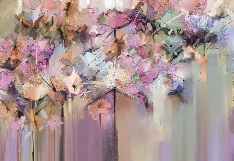 Pittura floreale astratta di colore a olio Fiori gialli e rossi dipinti a mano nel colore morbido Stile d'annata delle pitture de illustrazione di stock
