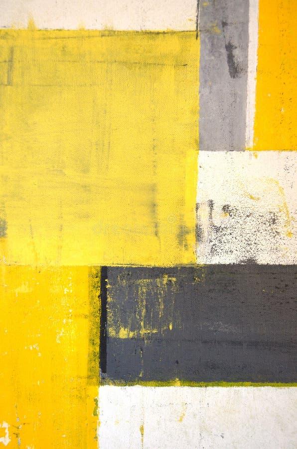 Pittura grigia e gialla di astrattismo fotografia stock libera da diritti