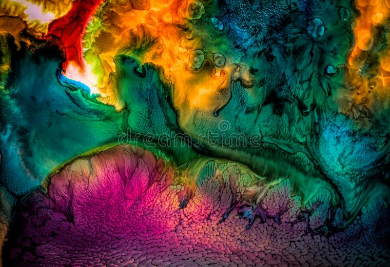 Pittura liquida astratta con la struttura fotografia stock libera da diritti