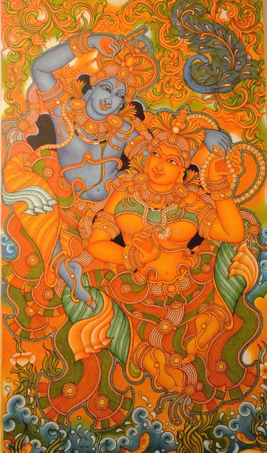Pittura murala del Kerala fotografia stock