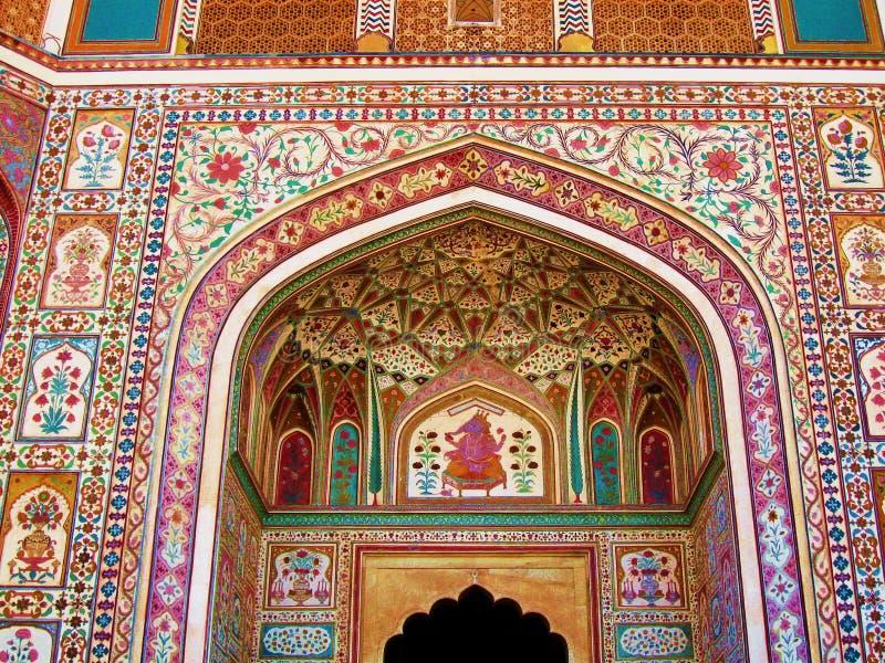 Pittura murala della parete variopinta di architettura dell'India fotografia stock