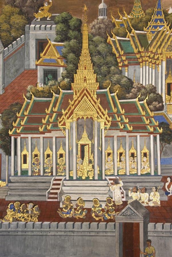 Pittura murala tailandese sulla parete, Wat Phra Kaew fotografie stock libere da diritti