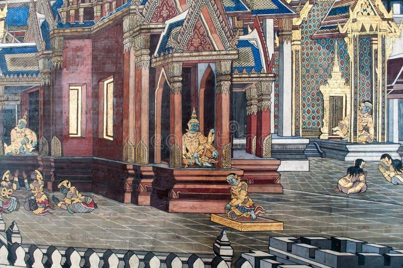 Tempio Tailandese Del Murale Della Pittura Illustrazione ...