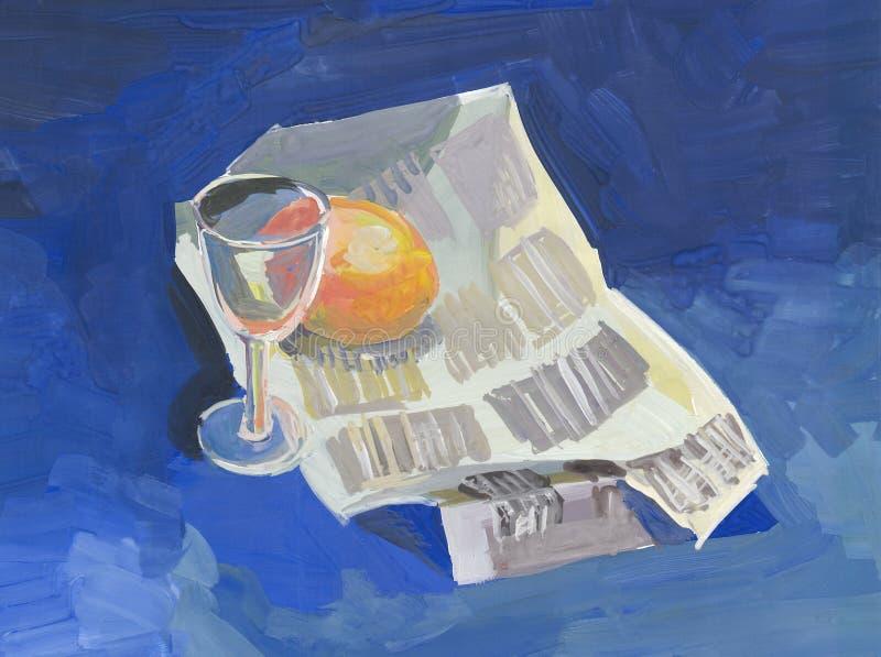 Pittura, natura morta con un giornale, un di vetro e un'arancia illustrazione vettoriale