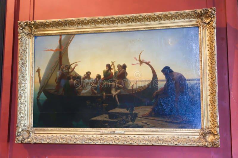 Pittura nel museo del Louvre fotografia stock