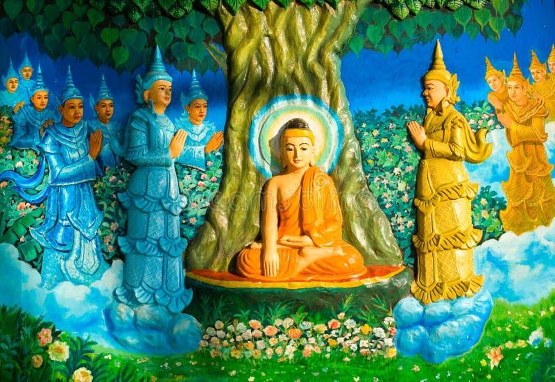 Pittura nello Shwedagon Paya, Yangoon, Myanmar. fotografie stock libere da diritti
