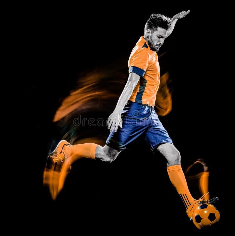 Pittura nera della luce del fondo isolata uomo caucasico del calciatore immagini stock
