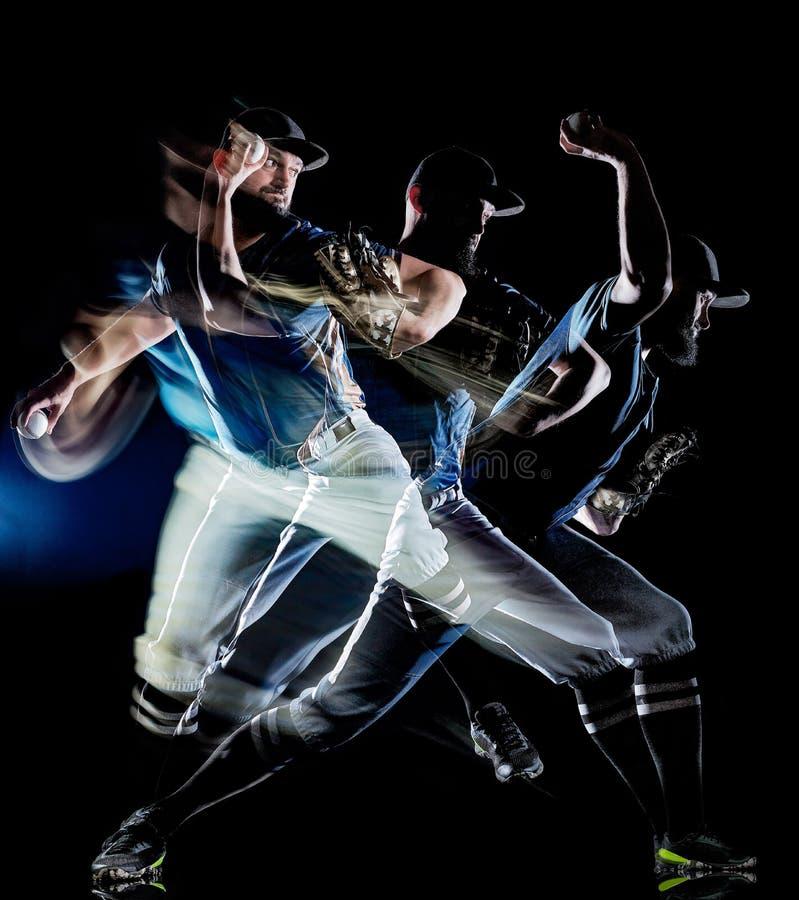 Pittura nera della luce del fondo isolata uomo del giocatore di baseball immagine stock