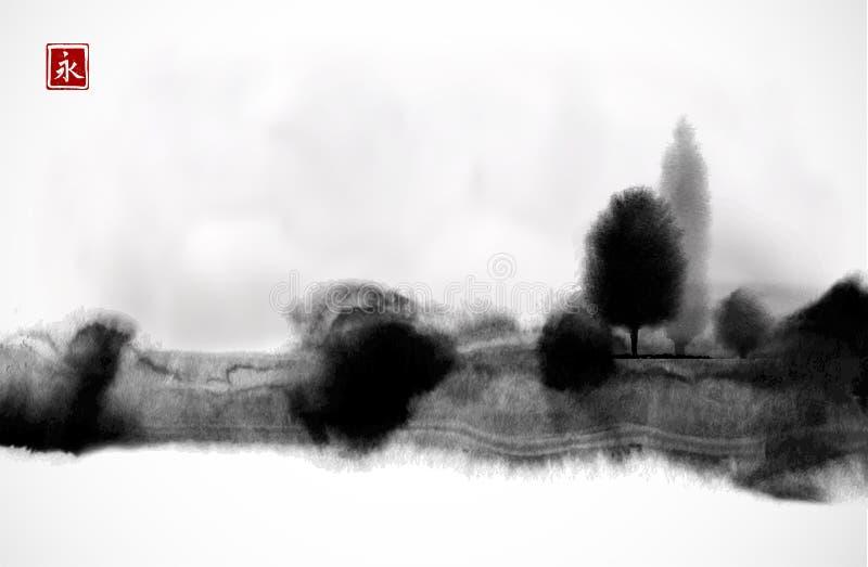Pittura nera stilizzata del lavaggio dell'inchiostro con gli alberi forestali nebbiosi su fondo bianco Sumi-e orientale tradizion illustrazione vettoriale