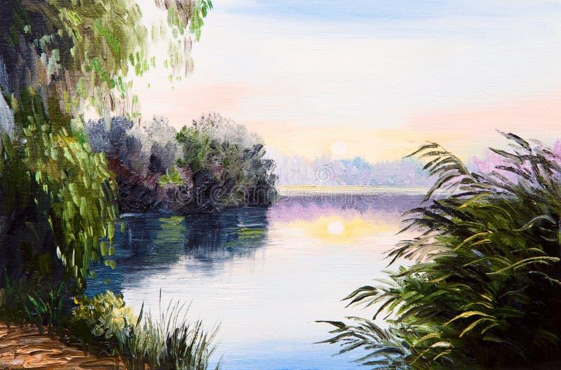 Pittura a olio alba sul lago disegno astratto for Lago disegno