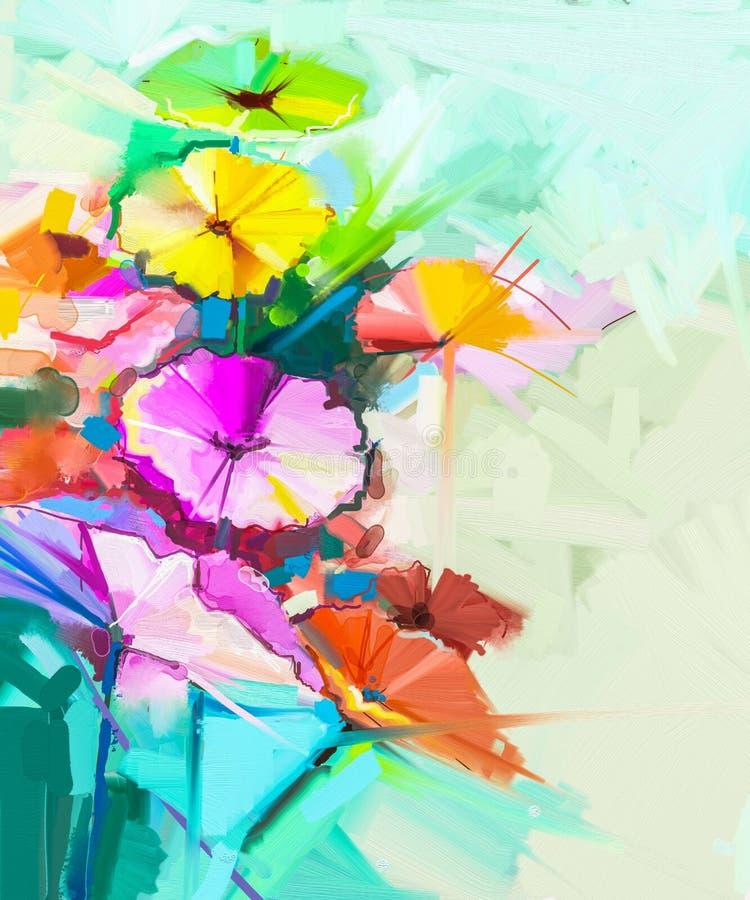 Pittura a olio astratta dei fiori della molla royalty illustrazione gratis