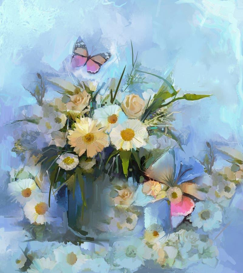 Pittura a olio astratta del fiore con la farfalla royalty illustrazione gratis