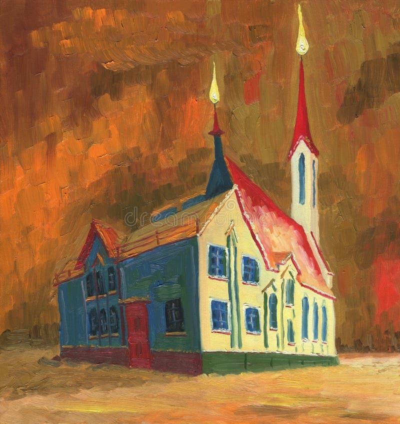 Pittura a olio Bella cattedrale su una notte di inverno royalty illustrazione gratis