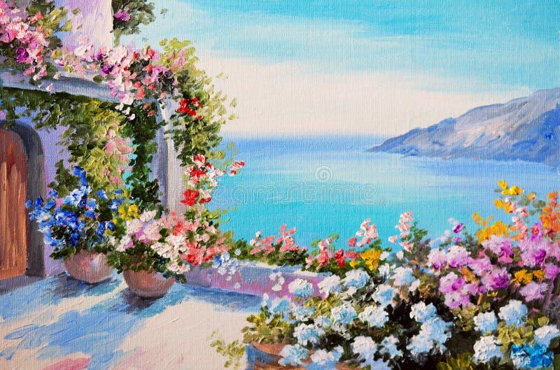 Pittura a olio - casa vicino al mare illustrazione vettoriale