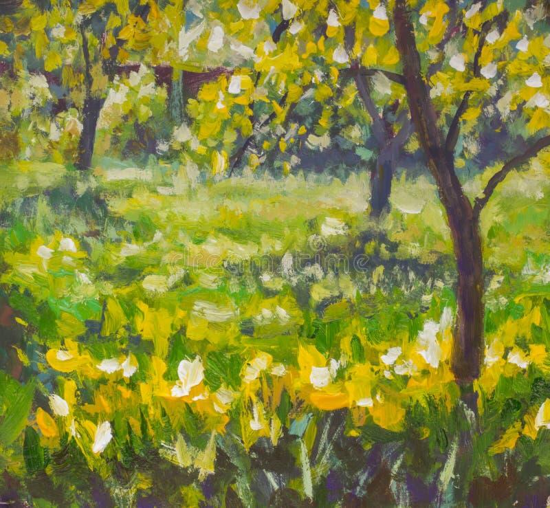 Pittura a olio con acrilico su tela Giorno di estate soleggiato della molla in natura rurale del paesaggio del giardino Radura di illustrazione di stock