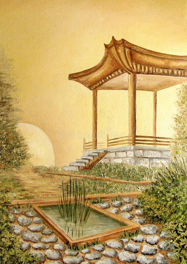 Pittura a olio con il gazebo in giardino giapponese asiatico illustrazione di stock