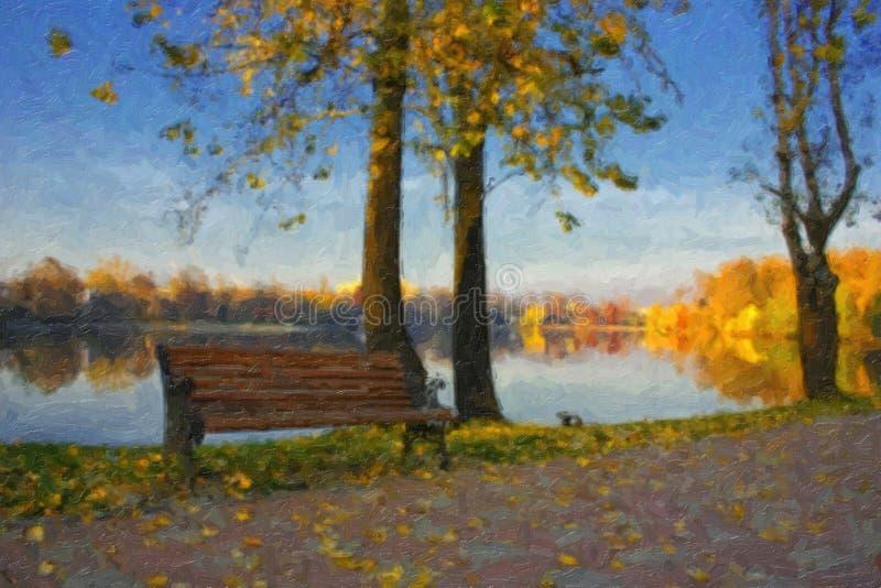 Pittura a olio con il lago di autunno