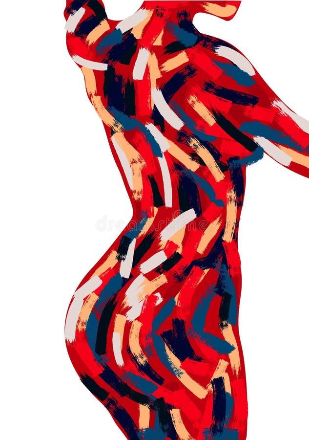 Pittura a olio del corpo della donna Spazzoli l'illustrazione disegnata a mano del colpo Perfezioni per la decorazione domestica  illustrazione vettoriale
