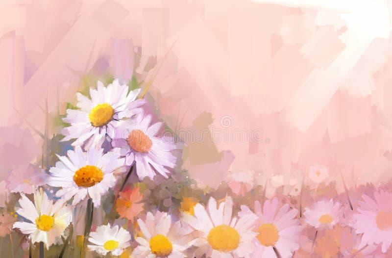 Pittura a olio del fiore della gerbera Fiori nel colore morbido per backgroun illustrazione di stock