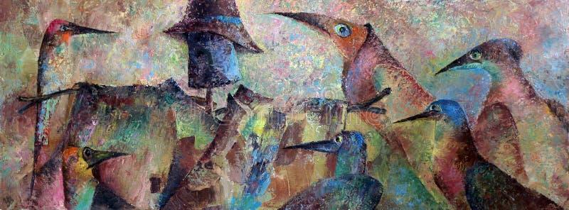 Pittura a olio del materiale illustrativo della foto su tela uccelli royalty illustrazione gratis
