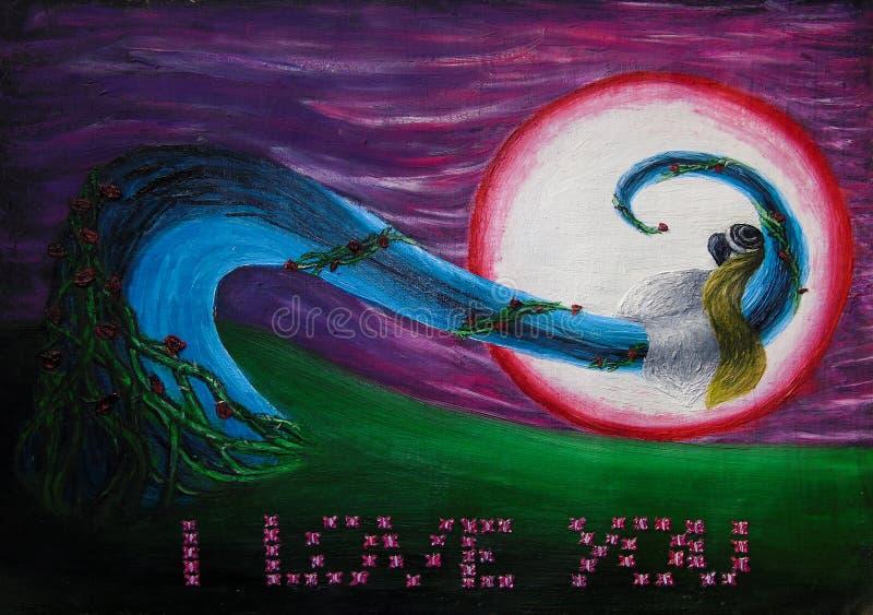 Pittura a olio del paesaggio di notte di fantasia con una sposa e uno sposo che baciano appassionato, amore, nozze, luna di miele illustrazione vettoriale