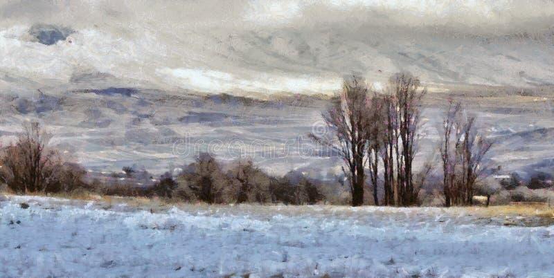 Pittura a olio del paesaggio di Snowy immagini stock libere da diritti